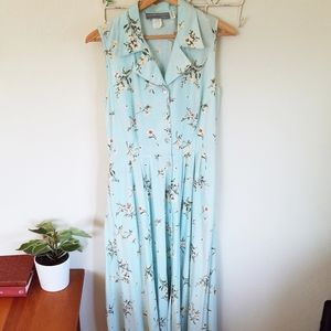 Carol Anderson Vintage Blue Floral Maxi Dress